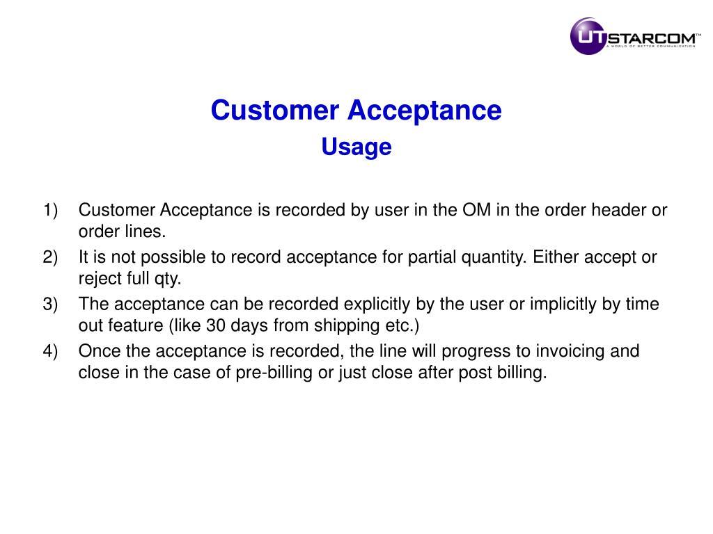 Customer Acceptance