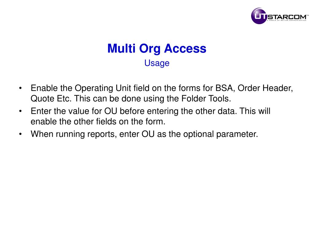 Multi Org Access