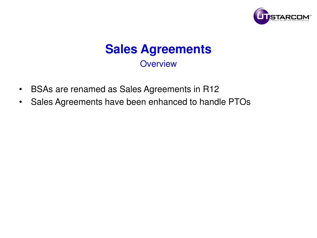 Sales Agreements