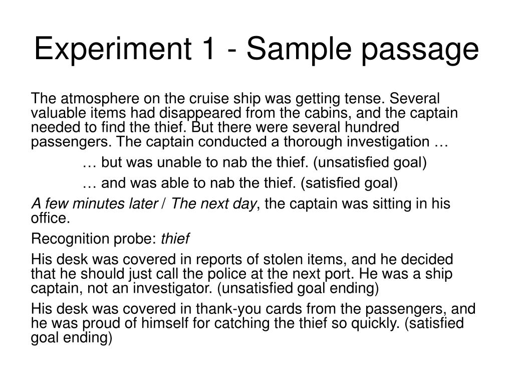 Experiment 1 - Sample passage