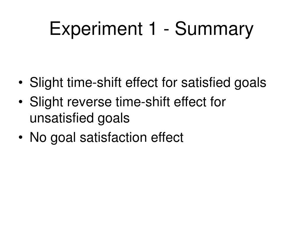 Experiment 1 - Summary