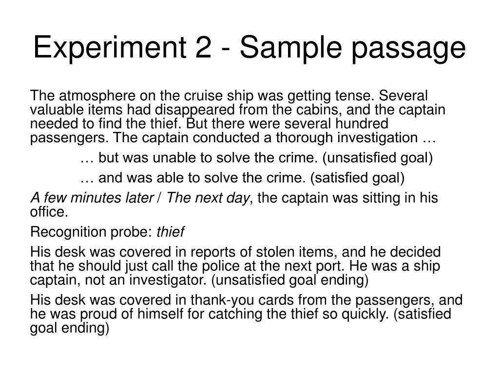 Experiment 2 - Sample passage