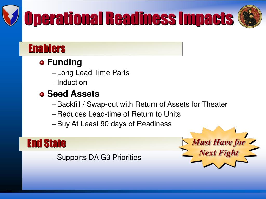 Operational Readiness Impacts