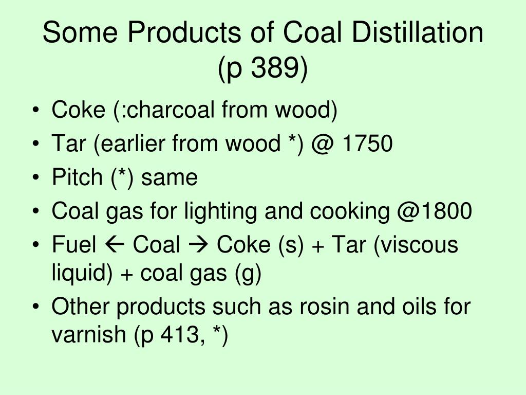 Some Products of Coal Distillation (p 389)