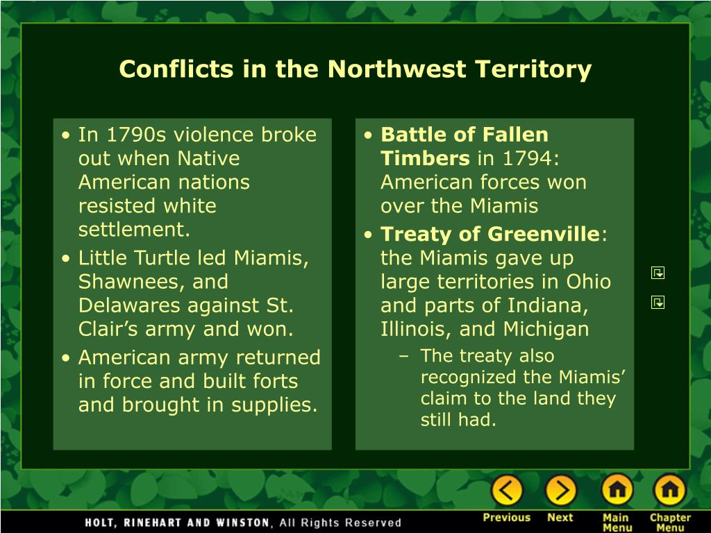 In 1790s violence broke out when Native American nations resisted white settlement.