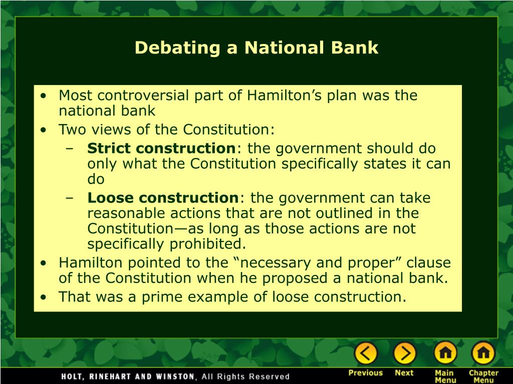 Most controversial part of Hamilton's plan was the national bank