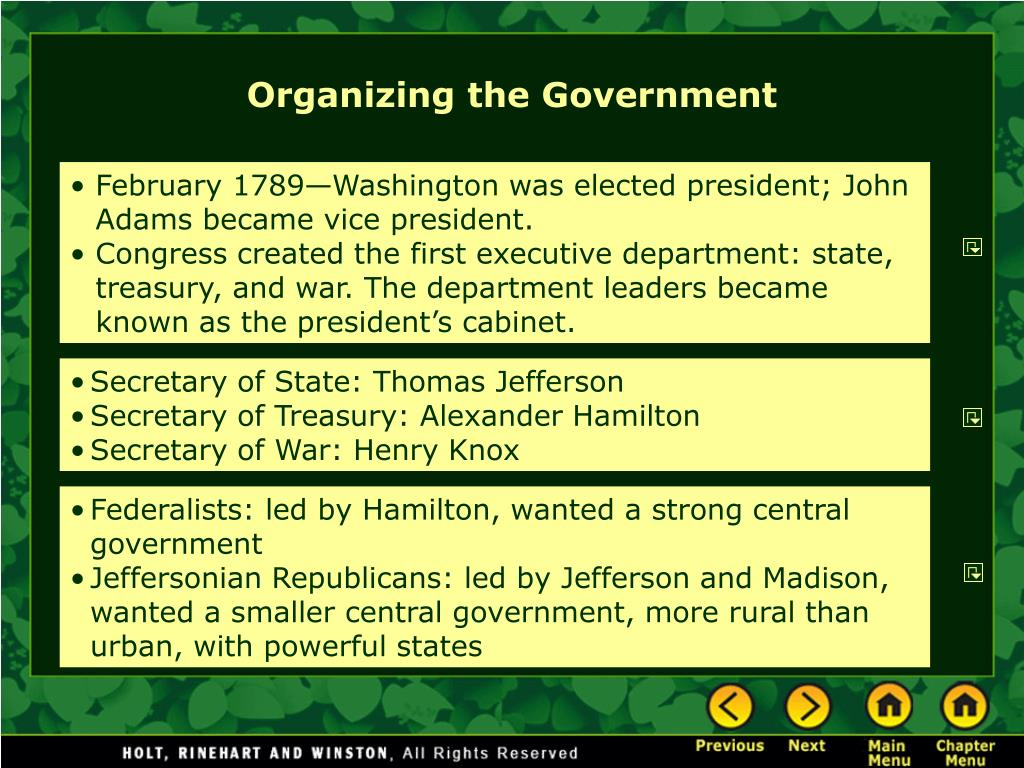 Organizing the Government
