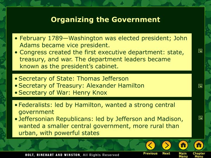 Organizing the government l.jpg