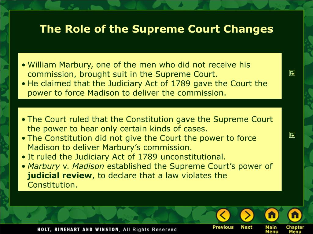 The Role of the Supreme Court Changes