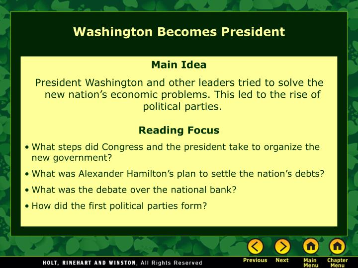 Washington becomes president l.jpg