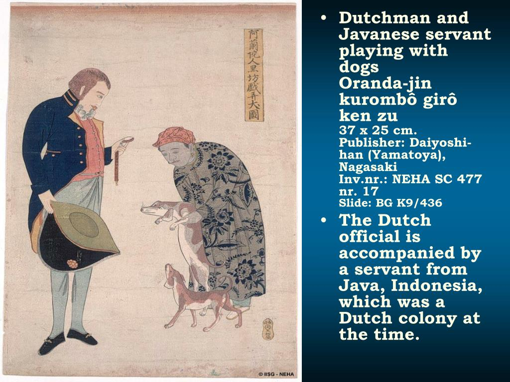 Dutchman and Javanese servant playing with dogs