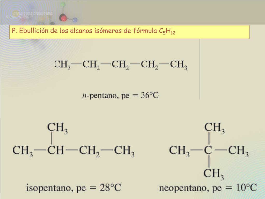 P. Ebullición de los alcanos isómeros de fórmula C