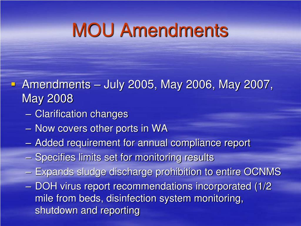 MOU Amendments