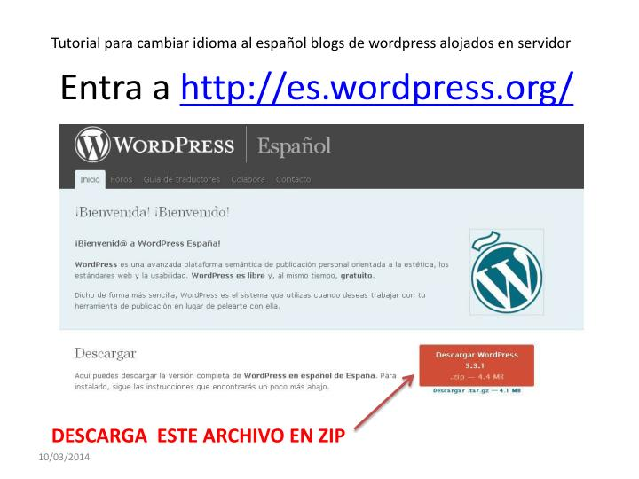 Entra a http es wordpress org