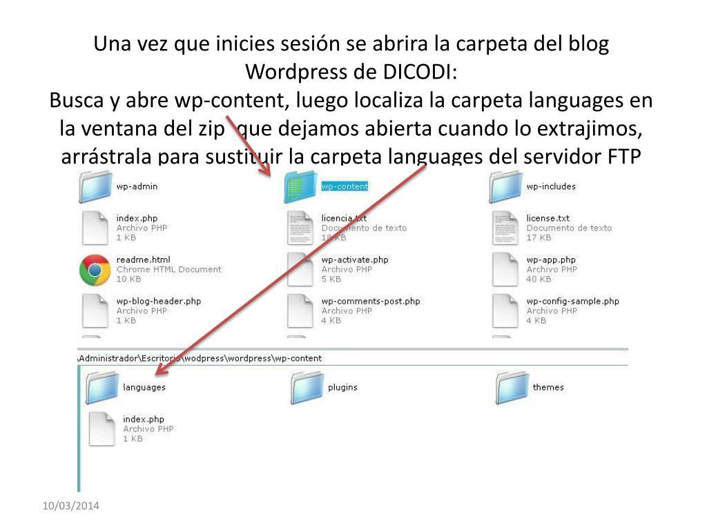Una vez que inicies sesión se abrira la carpeta del blog Wordpress de DICODI: