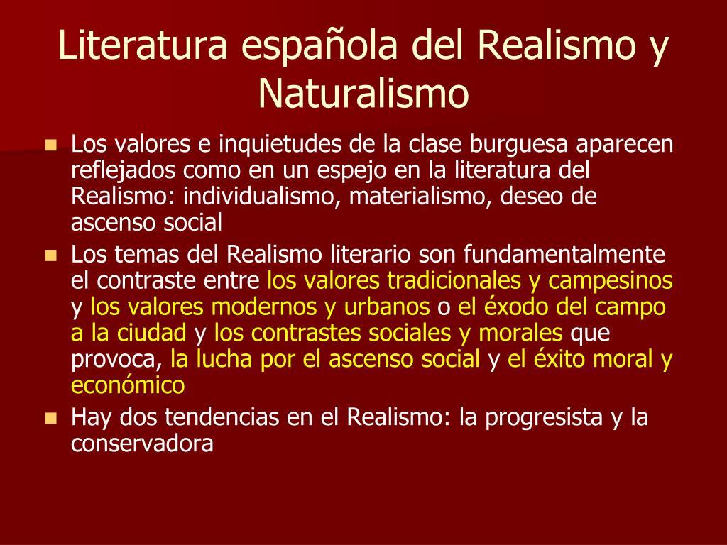 Literatura española del Realismo y Naturalismo