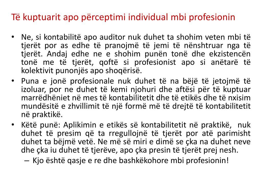 Të kuptuarit apo përceptimi individual mbi profesionin