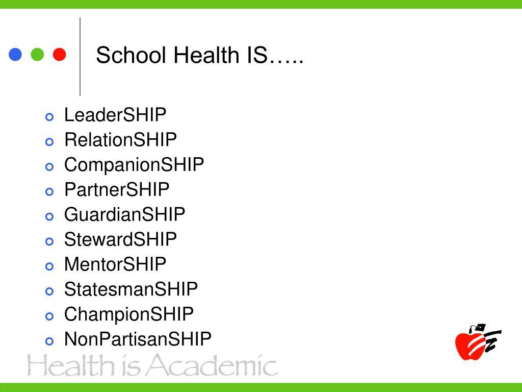 School Health IS…..