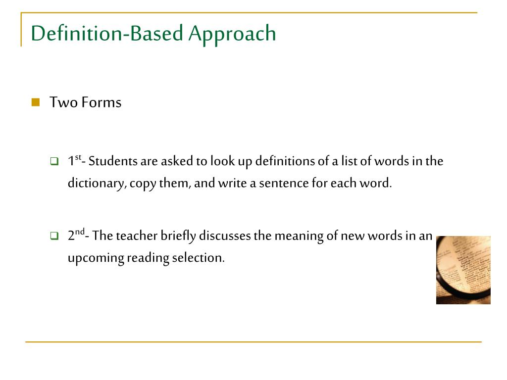 Definition-Based Approach