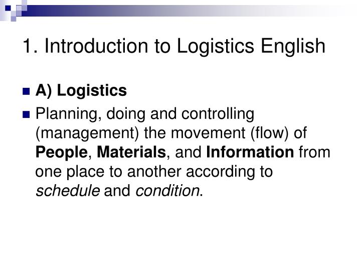 1 introduction to logistics english