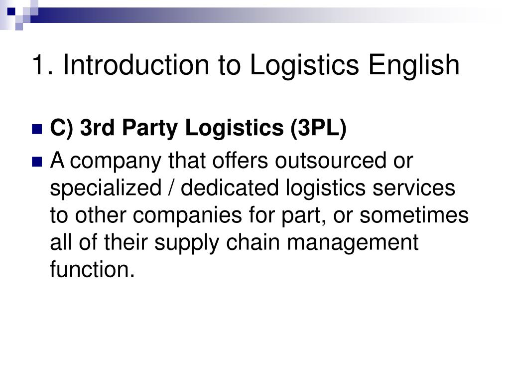 1. Introduction to Logistics English