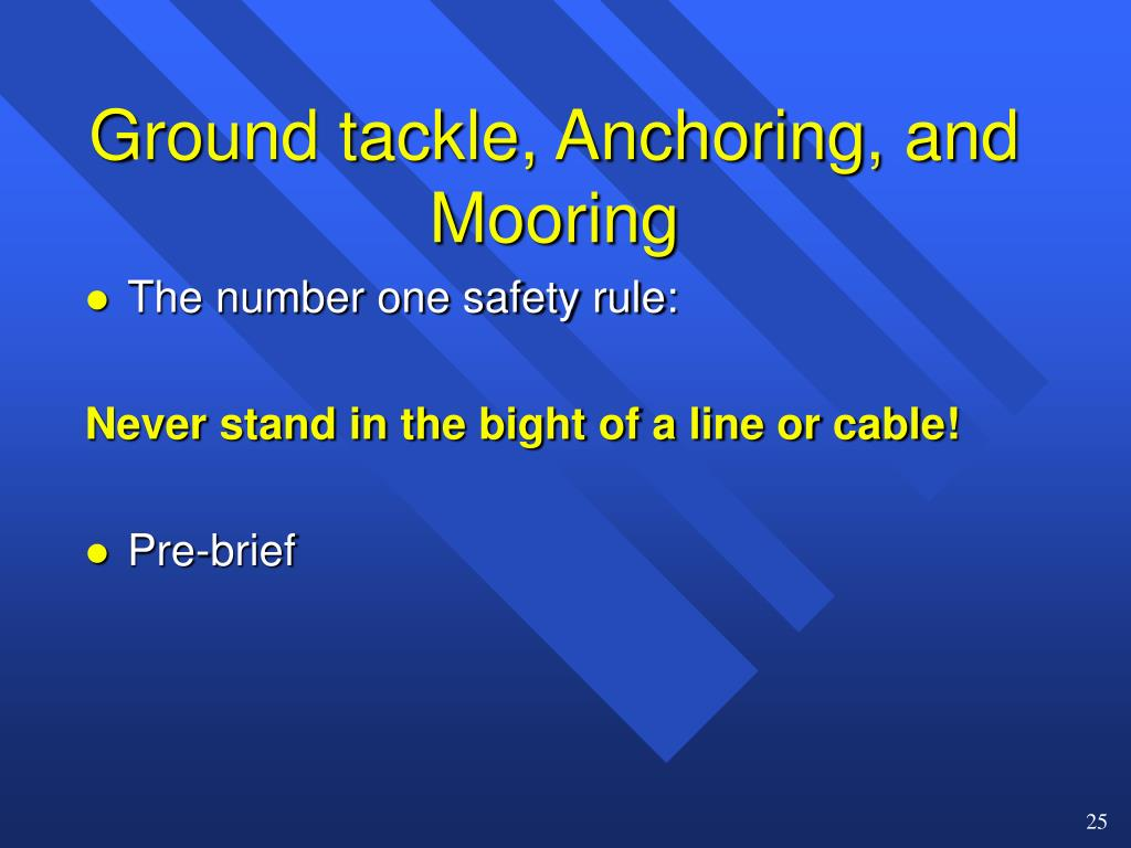 Ground tackle, Anchoring, and Mooring