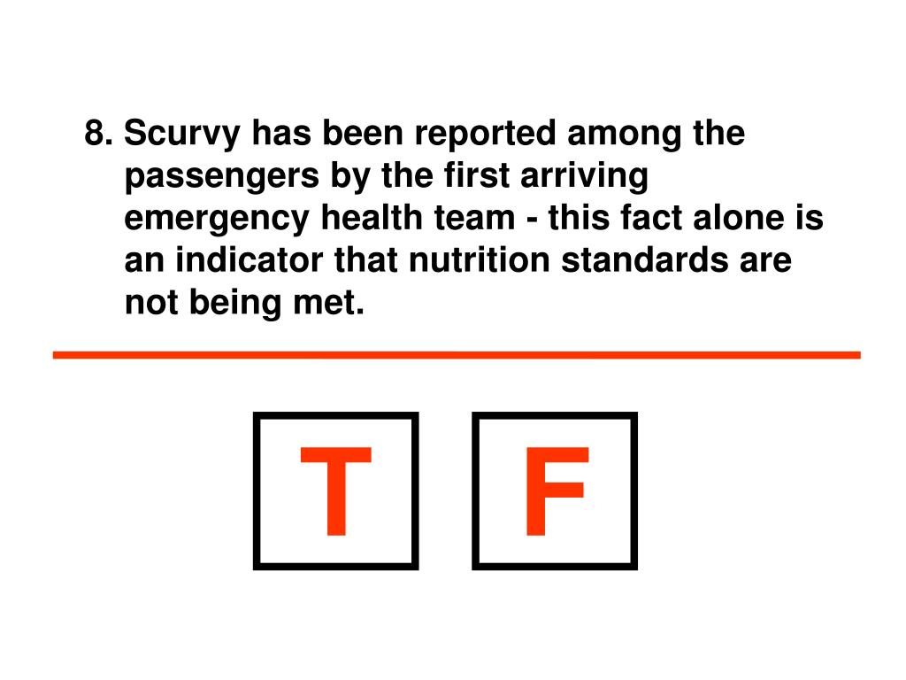 8. Scurvy has been reported among the passengers by the first arriving emergency health team - this fact alone is an indicator that nutrition standards are not being met.