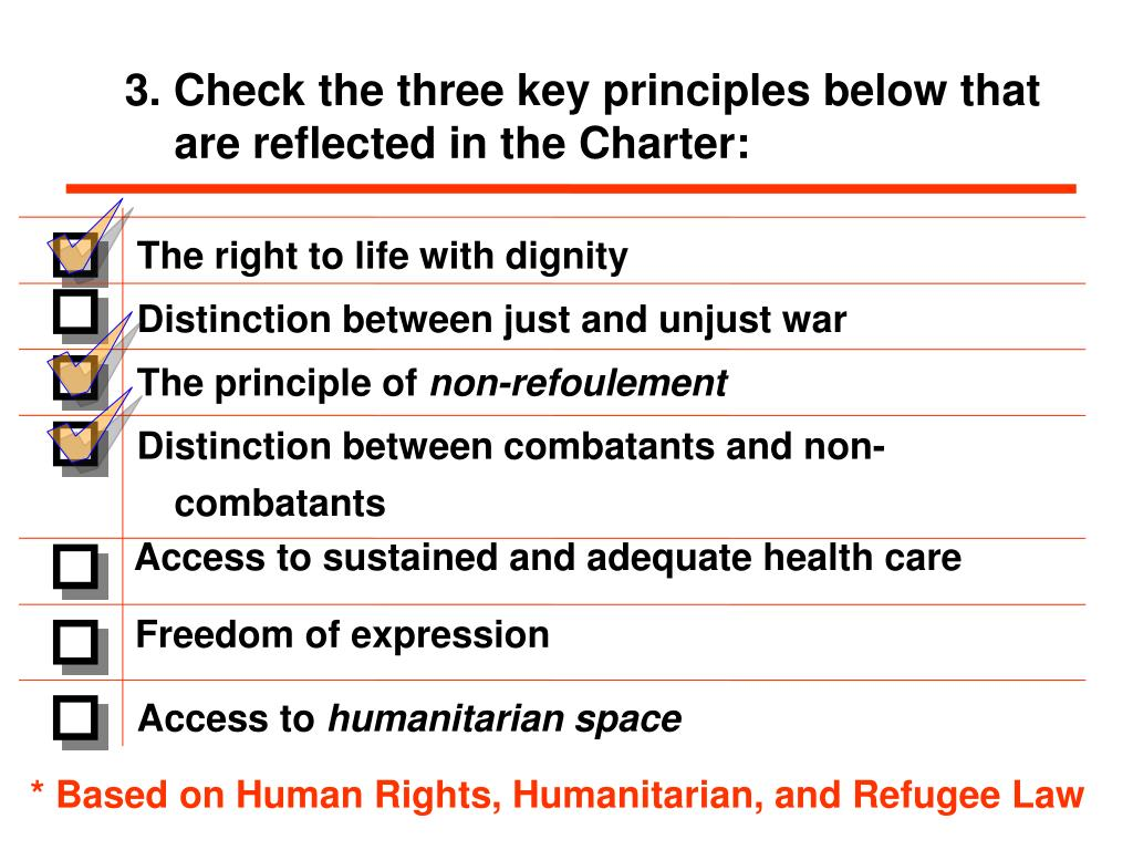 3. Check the three key principles below that are reflected in the Charter: