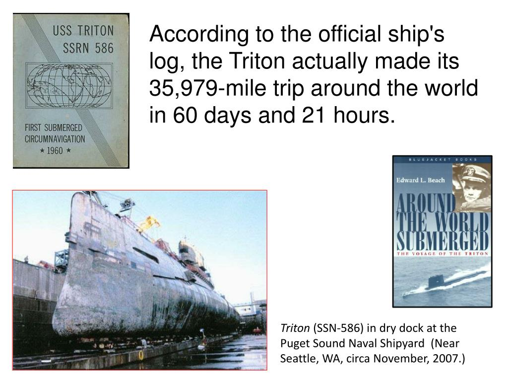 According to the official ship's log, the Triton actually made its 35,979-mile trip around the world in 60 days and 21 hours.