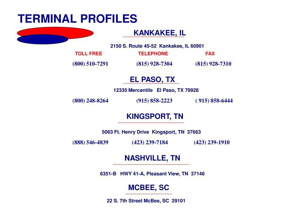 TERMINAL PROFILES