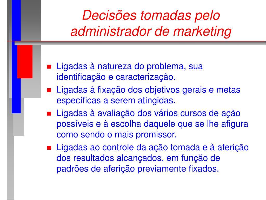 Decisões tomadas pelo administrador de marketing
