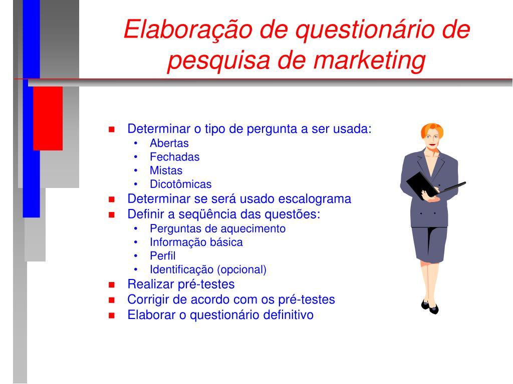 Elaboração de questionário de pesquisa de marketing