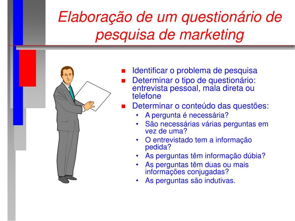 Elaboração de um questionário de pesquisa de marketing