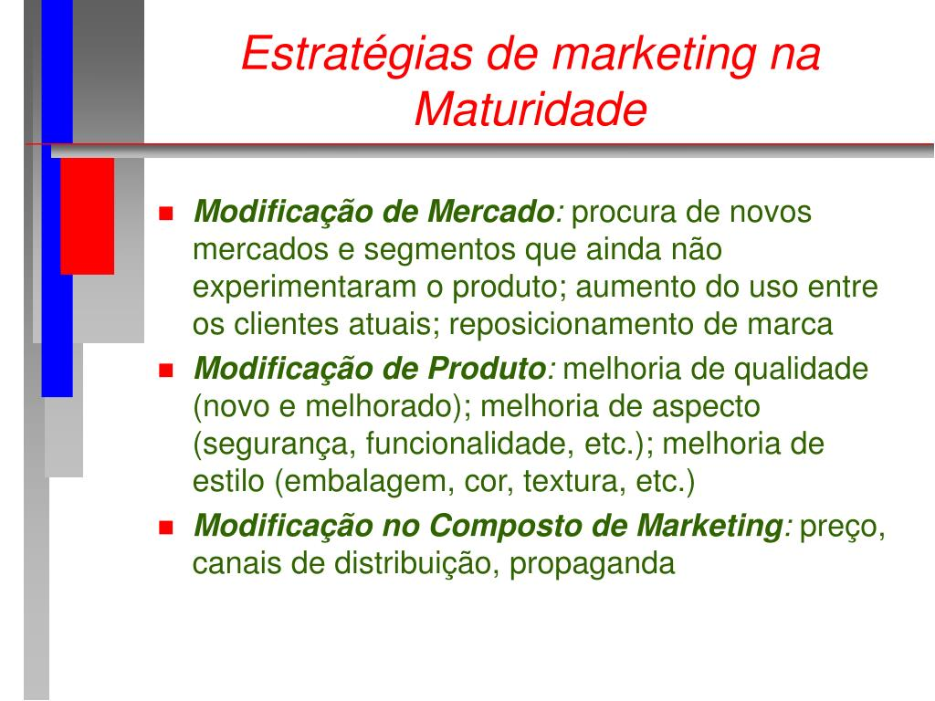 Estratégias de marketing na Maturidade