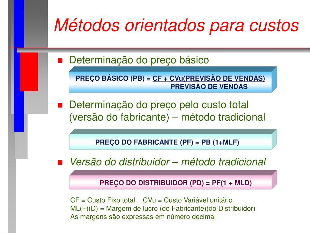 Métodos orientados para custos