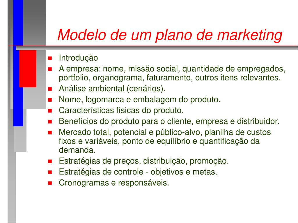 Modelo de um plano de marketing