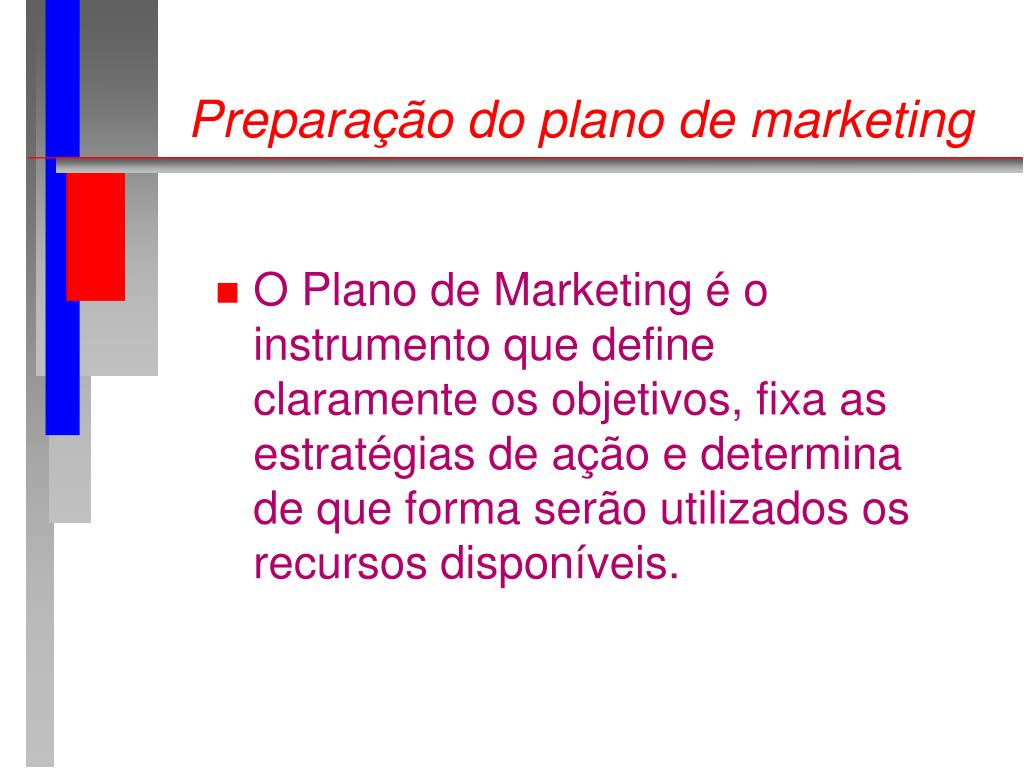Preparação do plano de marketing