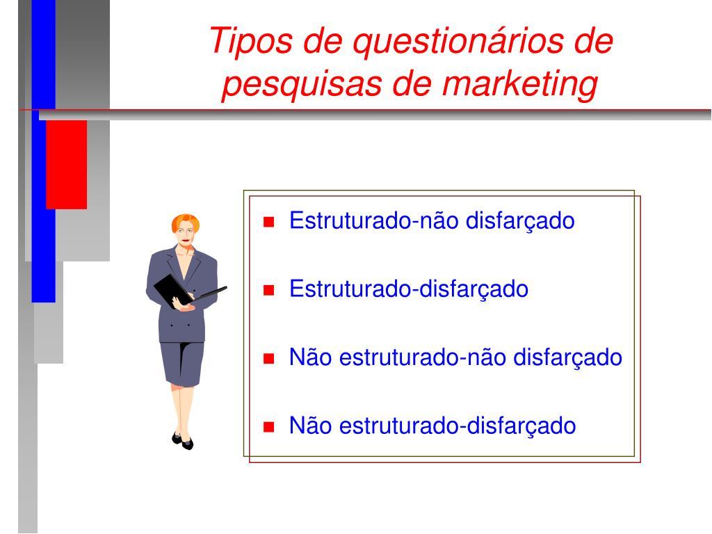 Tipos de questionários de pesquisas de marketing