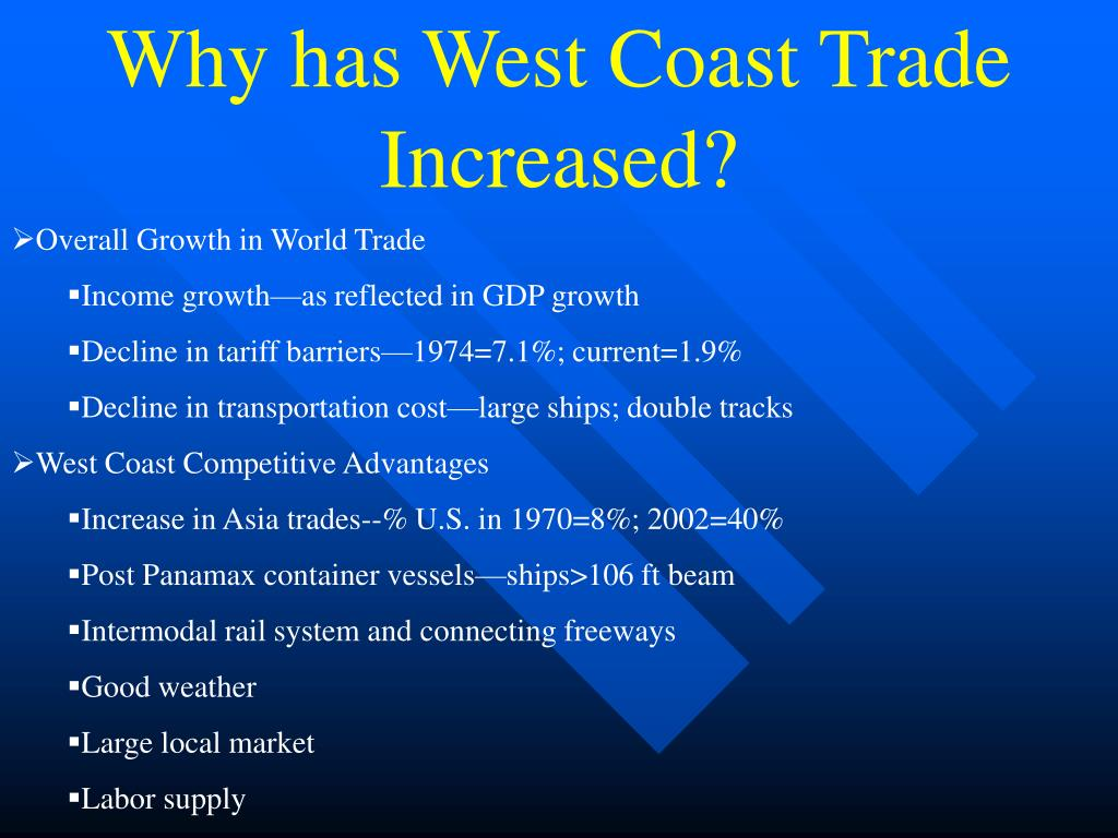 Why has West Coast Trade Increased?