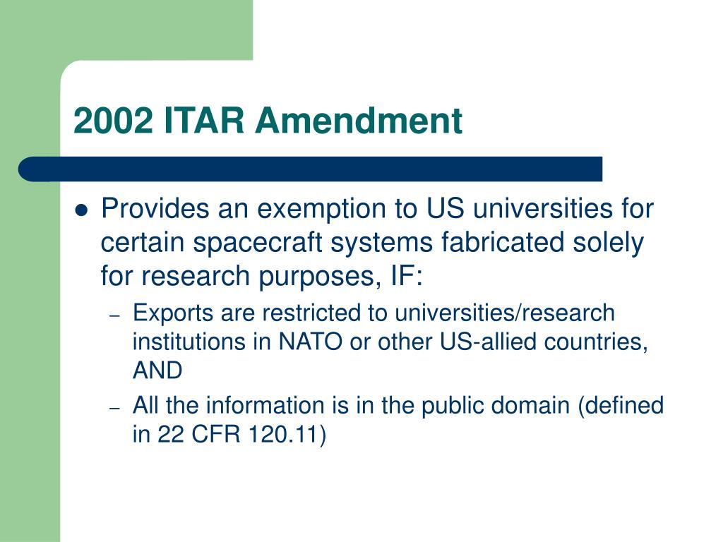 2002 ITAR Amendment
