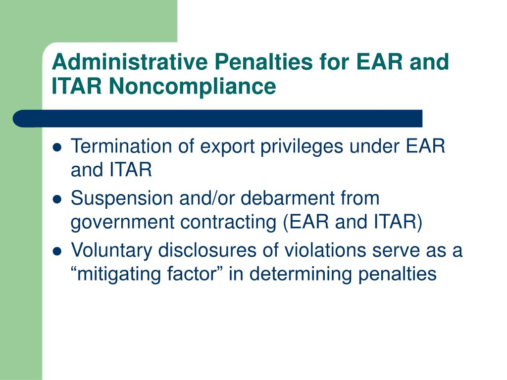 Administrative Penalties for EAR and ITAR Noncompliance
