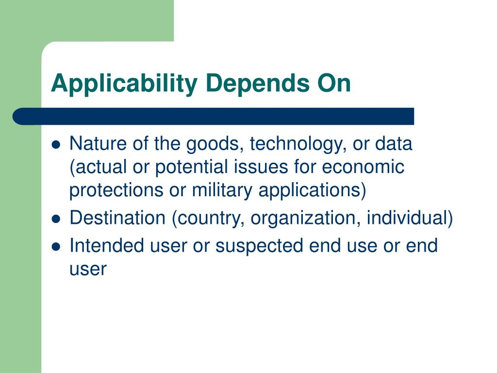 Applicability Depends On