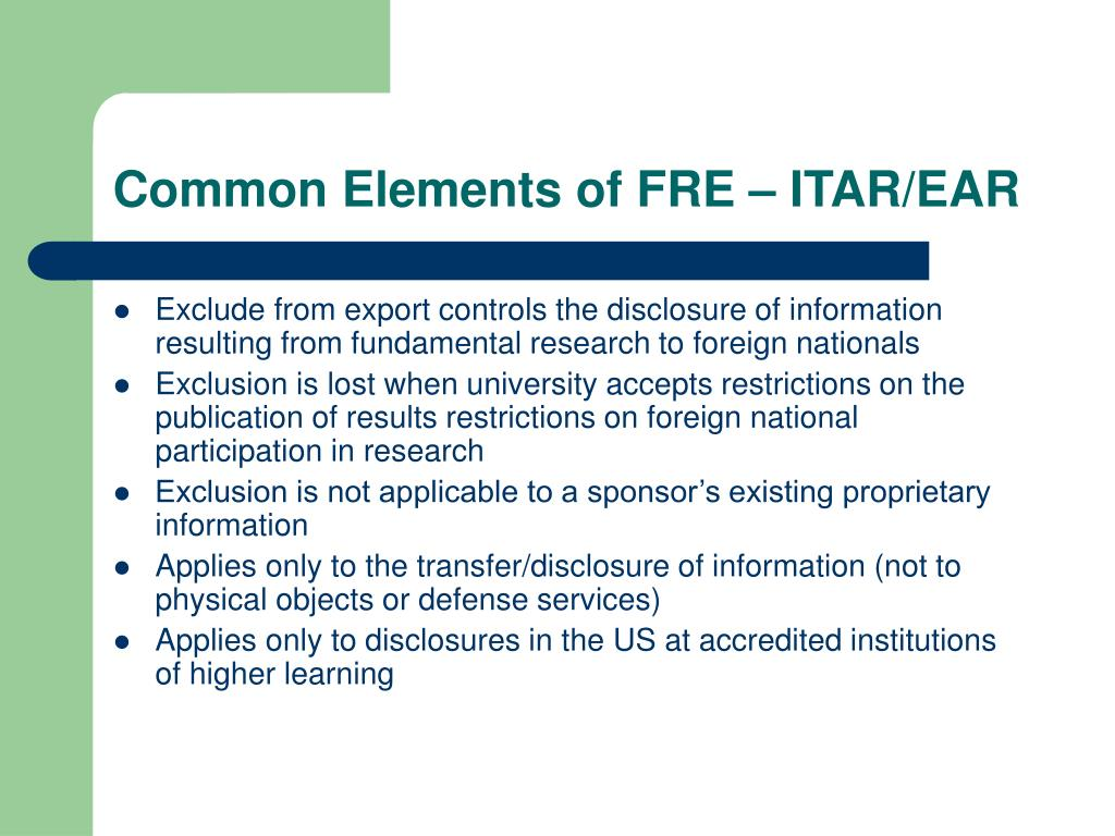 Common Elements of FRE – ITAR/EAR