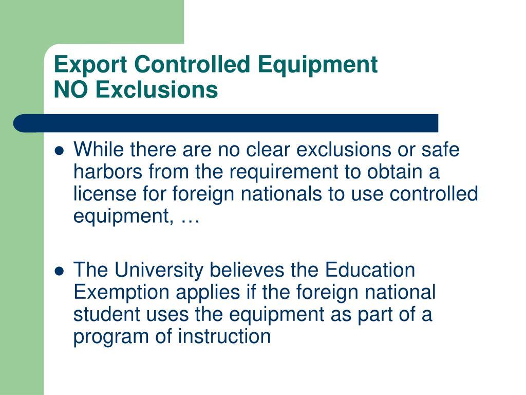 Export Controlled Equipment