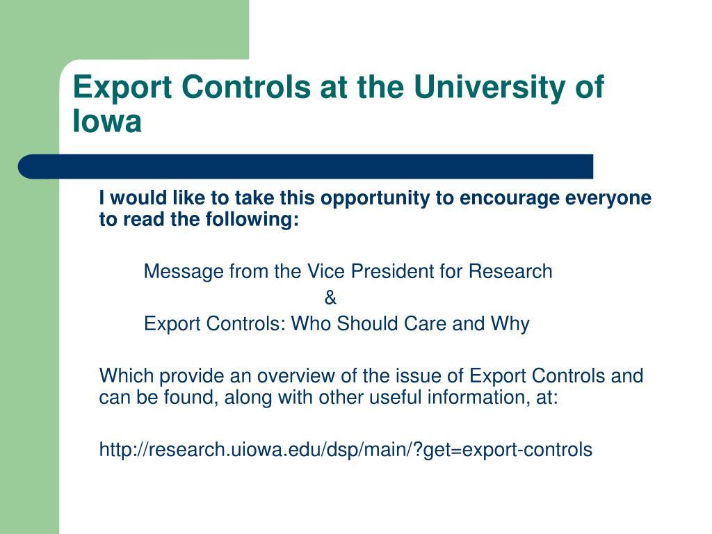 Export Controls at the University of Iowa