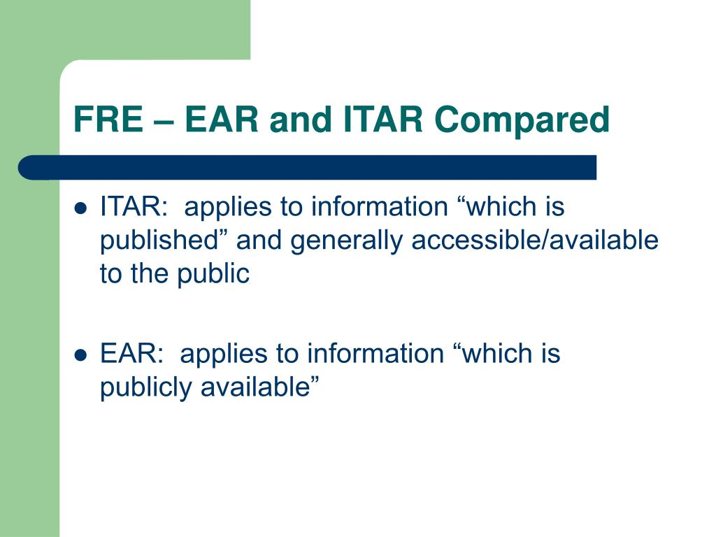 FRE – EAR and ITAR Compared
