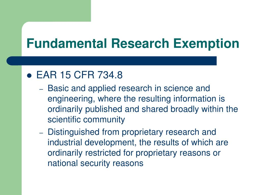 Fundamental Research Exemption