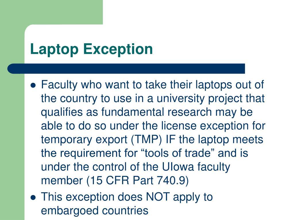 Laptop Exception