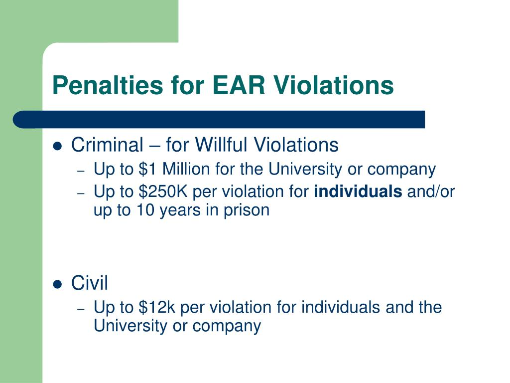 Penalties for EAR Violations