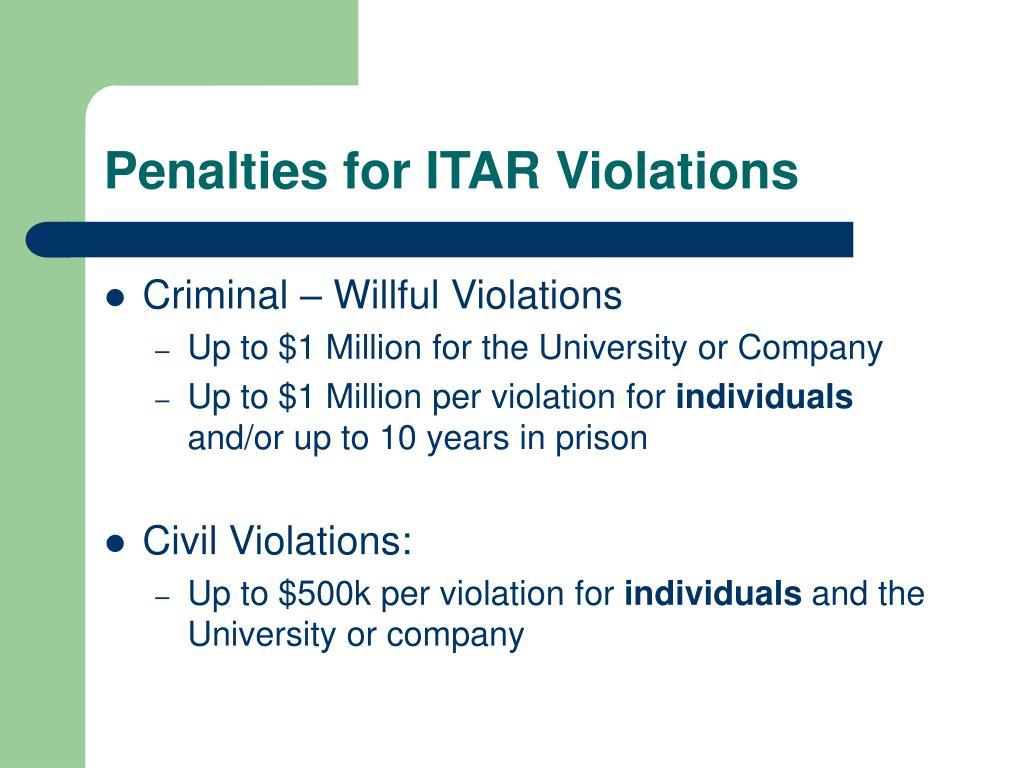Penalties for ITAR Violations